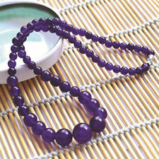 """Charisma 6-14mm 100 Natural Amethyst Round Beads GEMSTONE Necklace 17"""" AAA"""