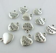 "30pcs Tibetan Silver Words heart Flatback ""Thank you"" Charms Pendants 10x12mm"