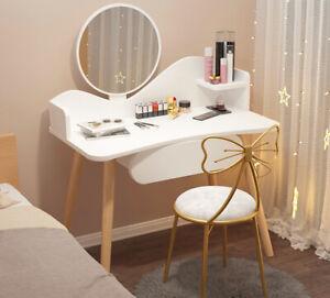 Modern Dressing Table Makeup Desk With Mirror&Drawer Bedroom Living Room White