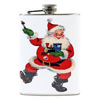 8 oz Retro Steel Hip Flask Train Santa Christmas Liquor Accessory Gift Display
