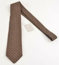 Paolo Albizzati NWT Neck Tie In Brown With Tan Polka Dots Wool & Cotton