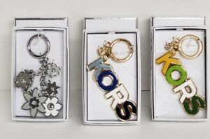 Michael Kors Raised Resin & Metals Charm Key Chain greens, Blues, Silver NWTIB