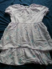 Naartjie Dress Tunic Girl SZ 9 Year XXXL Lavender Tiered Butterfly Floral Teal