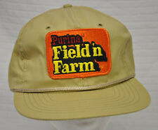 Vtg PURINA Field 'n Farm ORANGE Patch TAN Cap HAT StrapBack USA Unworn DOG Food
