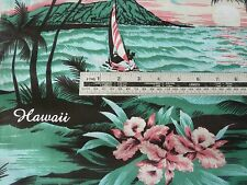 GREEN, BLACK HAWAII, SURF SEA, BOATS POLY COTTON FABRIC BY THE METRE FREE POST