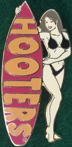 HOOTERS RESTAURANT Sexy BRUNETTE Waitress BLACK Bikini Girl RED Surfboard PIN