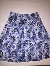Talbots Blue Paisley Lined Skirt Size 8 New! Side Zip Soft Pleats