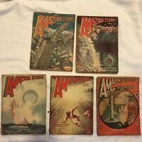 Amazing Stories Large Pulp Magazines 5 Issue Lot 1929 1932 1934 Bedsheet Size