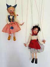 Rare 1950's SL Pelham Puppets x 2 Red Riding Hood & Tyrol Girl Original Strings