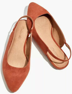 NIB Madewell The Margot Slingback Flat in Suede Sz10 AA174 In Russet