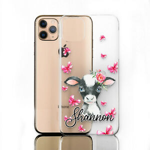 PERSONALISED PHONE CASE FOR NOKIA 1/2/3/4/5, INITIAL COW PRINT CLEAR HARD COVER