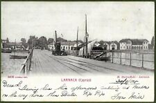 More details for larnaca pier, cyprus. superb early undivided back card posted from larnaca 1904