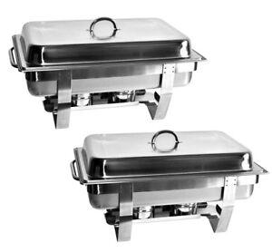 2 x Warmhalteständer +2x GN 1/1 Behälter 9L Chafing Dish Speisewärmer Warmhalter