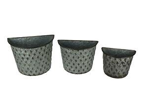Galvanized Metal Indoor Outdoor Wall Mount Basket Planters Lattice Look Set of 3