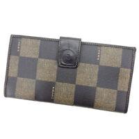 Fendi Wallet Purse Long Wallet Black Beige Woman Authentic Used Y5005