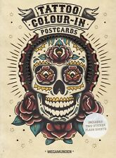 Tattoo Colour-In Postcards book by Megamunden with 2 Sticker Flash Sheets