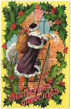 Christmas PC Purple Suited Santa Claus Climbing Ladder to House Window~105521