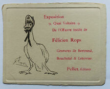 Exposition Félicien Rops Oeuvre inédit Quai Voltaire Pellet éditeur Carton rare