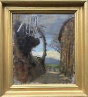 Ölgemälde Alte Studie 19. Jahrhundert anonym Weg im Licht 31x28 cm Antik Ölbild