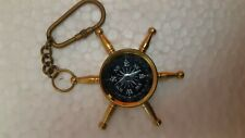 Nautical Solid Brass Ship's Wheel Compass Key Chain, Brass