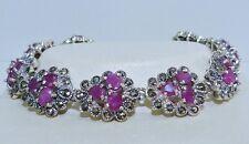 GENUINE! 9.45tcw!! African Ruby & Marcasite, Sterling Silver 925 Bracelet!