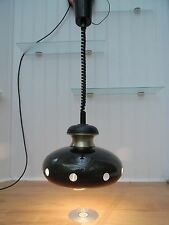 60s/70s CEILING LAMP, Vintage RISE & FALL PENDANT LIGHT, Retro GREEN METAL SHADE