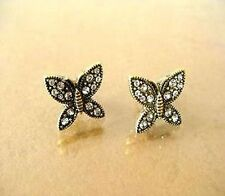 Vintage retro crystal bronze butterfly charm earrings