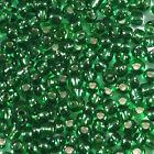 cuentas de rocalla de vidrio 2mm Agujero Plateado Verde 20g (12/0)