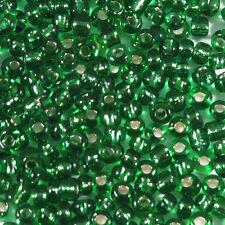 Perles de Rocailles en verre 2mm Trou Argenté Vert 20g (12/0)