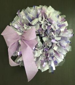 "Handmade Purple White Ribbon Rag Wreath w Bow 16"" Nursery Girls Room Shabby Chic"