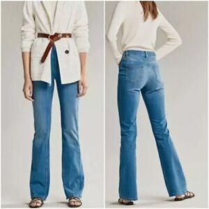 Massimo Dutti high rise flare jeans medium blue wash womens size 2 US 34 EU NWT