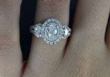 1.8 Ct Three Stone Halo Oval Moissanite Wedding Engagement Ring 14k white Gold