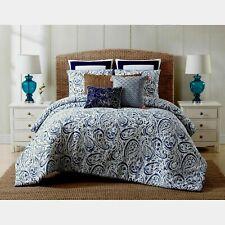 Oceanfront Resort Indienne Paisley Cotton KING SIZE Comforter Set Blue NEW