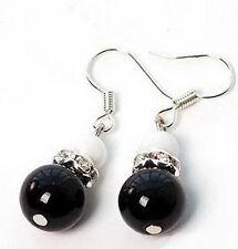 Genuine Black Agate White Pearl Crystal Silver Hook Earrings
