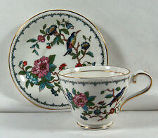 BEAUTIFUL AYNSLEY PEMBROKE CUP AND SAUCER - FLORALS / BLUE BIRD - GOLD TRIM
