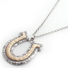 NEW! Western Necklace - Gold and Silver Horseshoe Necklace on Silver Chain