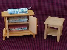 DOLL HOUSE FURNITURE WOOD SEWING ROOM FABRIC CUPBOARD TV CONSOLE & END TABLE
