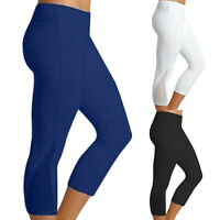 Womens Sports Yoga Capri Pants Fitness Leggings Workout Running Stretch Athletic