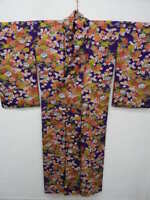 Antique Purple Silk Japanese KIMONO w/UME, BOTAN, Bamboo G888