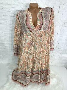 Italy Hippie   Blumen paisley Tunika  Hängerchen Kleid  Gr 38 40 42 Neu K-337