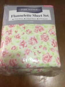 VINTAGE FLANNELETTE SHEET SET Double Fitted PARK AVENUE