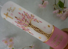 Taufkerze Kommunionkerze Lebensbaum rosa altrosa gold mit Sterne für Mädchen