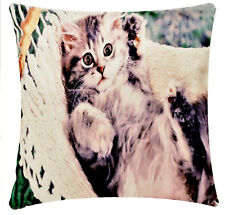 Lounging Cat Digital Print 17 x 17 inch Chenille Cotton Cushion Cover Sofa Bed