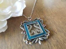 Photo locket necklace, Long Silver Enamel USA Seller
