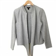 J Crew Womens Gray Tie Front Snap Closure Sweatshirt Cardigan Size M