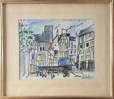 Robert SAVARY 1920-2000.Rouen.Crayons+feutre.20x25.SBD.Titré.C.1960.20x25.Cadre