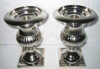 2 Pokal Kerzenhalter für 3 Kerzengrößen, Tischleuchter, Messing Nickel, 15x10cm