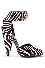NWOB Tom Ford Calf Hair Zebra Animal Print Cone Heel Sandals SZ 9.5 EU 39.5