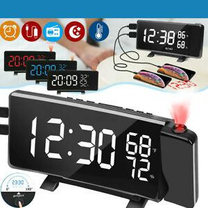 LCD Wecker Digital Alarmwecker Uhr LED USB Wetter Sleep//Snooze Mit Projektion