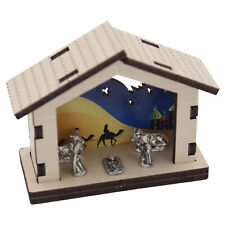 Miniature Nativity Metal Figures in Wooden Stable